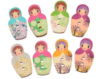 x 5 mixed buttons wooden Russian doll with multicolored pattern 2 holes 3 x 1.6 cm