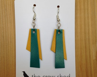 Layered Leather Handmade Geometric Earrings in Yellow and Teal