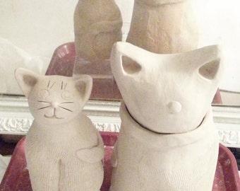 Custom Cat vessel Jar: HM made to order pottery feline design whimsical kitty stoneware cat lover memory gift
