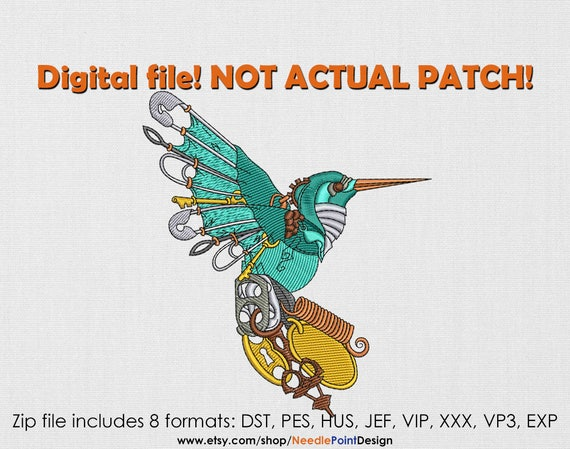 Instant download mechanical hummingbird machine for Embroidery office design version 9