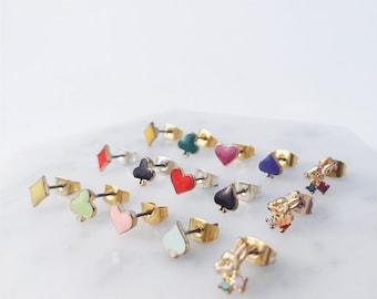 Alice in Wonderland earrings; Alice in Wonderland pierces; heart club diamond spades; playing cards; rabbit bunny earrings; set earrings