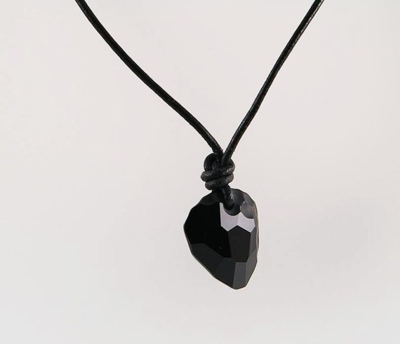 Mens necklace with rock pendant on leather cord mens aloadofball Gallery