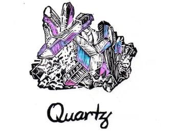Quartz crystal linocut with iridescent facets - Lino Block Print Mineral Crystal Quartz