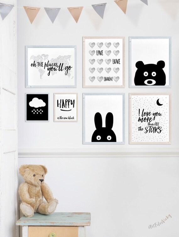pig nursery animal print animal art print wall art peekaboo