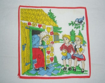 Vintage Fairy Tale Handkerchief, Hansel and Gretel