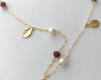 Garnet Necklace Pearl Necklace January necklace January Birthstone Gemstone Necklace Garnet Layering Necklace Red Necklace January