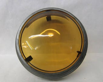 vintage amber lens, abt 6 inches round, industrial decor, vintage amber glass, may be railroad, collectible glass, mixed media supply