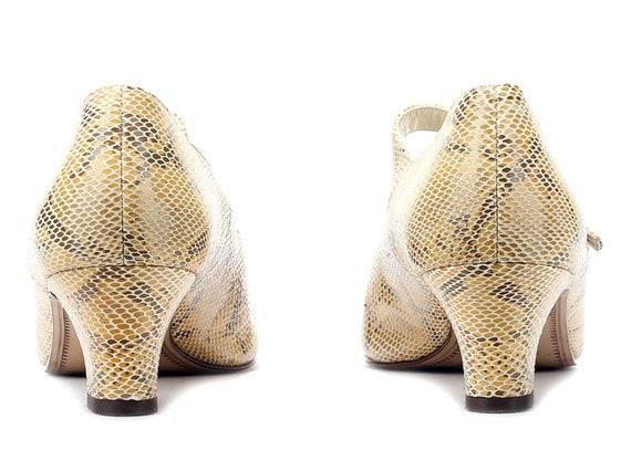UK 5 Python women Janes Leather Patterned Pattern Snakeskin Quality Shoes 38 70s Midi US Heels Heel EUR Mary German Retro 5 Vintage 8 5 w1F7nqB