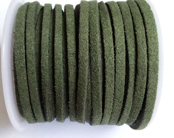 1 m 3mm khaki green suede cord