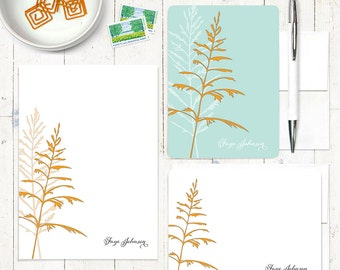 complete personalized stationery set - FANCIFUL FERN - stationary - note cards - notepad - nature - botanical