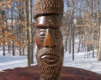 Wood Sculpture Head Bust