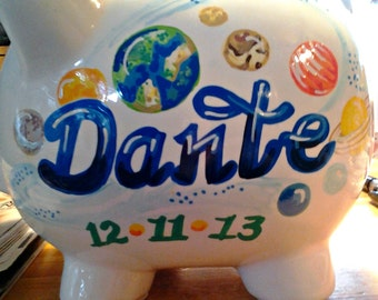 Personalized Piggy Bank Solar System Outerspace Design Handpainted