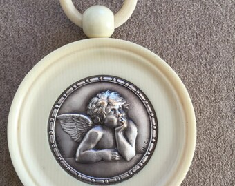 French Crib Token Picture wth Sculpture of Angel by Emile Dropsy in Celluloid Frame c1900