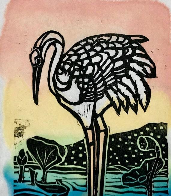 Crane Long Life Crane Symbolof Love Mini Woodblock Crane