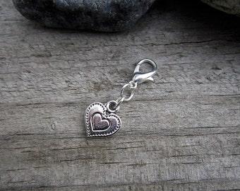 Silver Heart Charm - Midori Charm - Fauxdori Traveler's Notebook Charm - Tibetan Silver