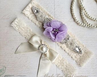 Lavender Wedding Garte-Stretch Lace Garter-Bridal Garter-Lace Garter Flower Garter-Keepsake Garter-Ivory Lace Garter, Purple Bridal Garter
