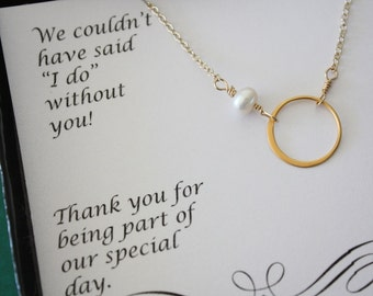 8 Bridesmaid Necklaces, Bridesmaid Gift, Thank You Card, White Pearl, Gold Necklace Karma, Infinite Friendship