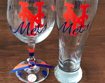 NY Mets, Baseball, Sports Glassware, Mets Gifts, Mets Glassware, Go Mets, NY Mets Gifts