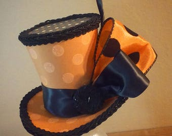 Halloween polka dots mini top hat orange and black