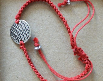 Red braided cotton bracelet