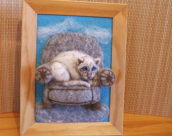 Cat on Chair needle felted needle felted cat on armchair 3 D mural