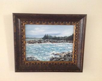 Acadia, Maine Oil Painting by Artist Kellie Chasse - Framed Original Art, Rocky Coast, Coastal, Wave, Rocks, Atlantic Ocean, New England