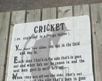Vintage tea towel, kitchen towel, fun Cricket collectible