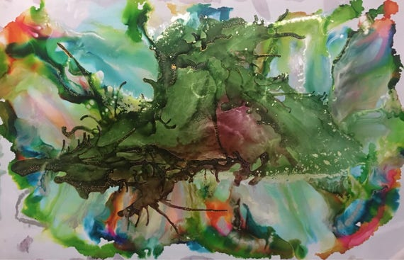 """Large Original Alcohol Ink Abstract: """"Above and Below"""" (23"""" x 35"""")"""