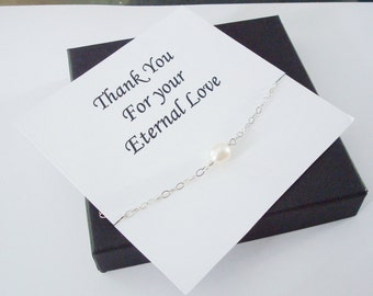 Solitaire White Pearl Sterling Silver Bracelet ~~Personalized Jewelry Gift Card for Mom, Best Friend, Sister, Bridal Party, Graduation