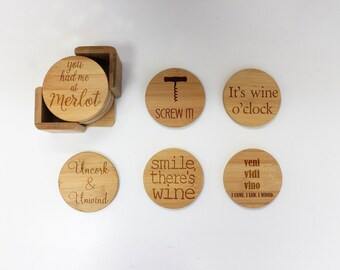 Coasters, Round or Square Coaster Set, Engraved Bamboo Wood Drink Coasters, Wine Lover Housewarming Gift 6pc Set --22044-CST1-001