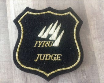 "Vintage ""IYRU Judge"" emblem, patch, International Yacht Racing Union, 1940's, assemblage Art,mixed media, shadow box,"