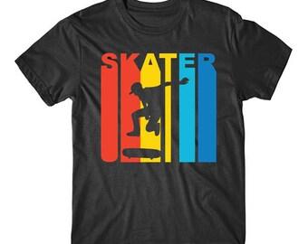 Retro 1970's Style Skater Silhouette Skateboarding T-Shirt