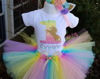 Pastel Unicorn Birthday Tutu Set, Unicorn Birthday Outfit, Rainbow Unicorn Set, Unicorn Shirt, Unicorn Tutu, Unicorn Headband, Unicorn Party
