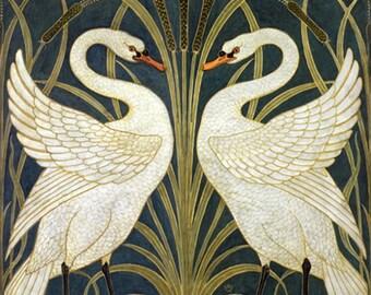 Ceramic Trivet 6 inch square - Vintage Art - Swans by Walter Crane