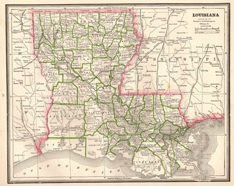 1886 Antique LOUISIANA Map Vintage Map of Louisiana State Map Gallery Wall Art Housewarming Gift for Anniversary Wedding Birthday 8434