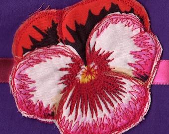 Headband / fabric pink PANSY flower bracelet