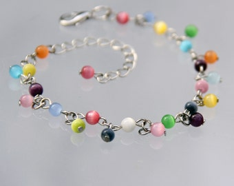 Rainbow color cateye charm bracelet Bridesmaids gifts Free US Shipping handmade Anni Designs