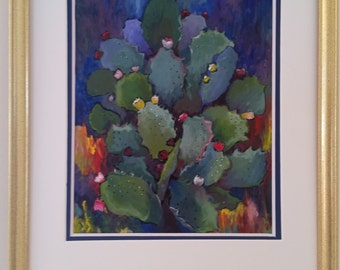 Original Acrylic Painting of a Prickly Pear - Gold Frame - Double Mat Blue and White