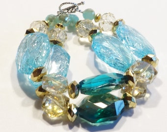 BLUE & GREEN Women's stackable bracelet, stacking bracelet, statement bracelet, beaded bracelet