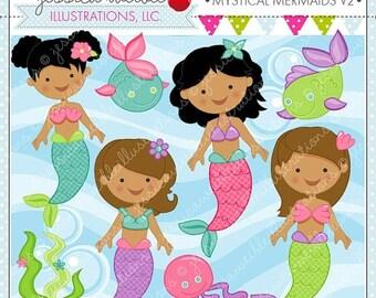 SALE Mystical Mermaids V2 Cute Digital Clipart, Mermaid Clip art, Mermaids, Mermaid Graphics, Cute Mermaid images, Scrapbooking, Under the S