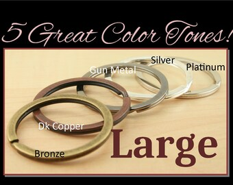 SALE 100 - Large Split Rings for Key Ring, Zipper Pulls, Dog Tags and Key Chains - Round, Heavy Duty, 25mm 5 Colors to Choose from