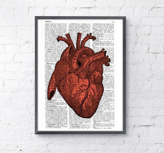 Dictionary Page Upcycled Book Art Upcycled Print Upcycled Book Print Vintage Art Print Human Red Heart  Print SKA032
