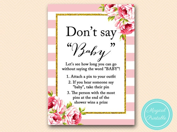 Dashing image with regard to don t say baby free printable
