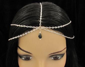 Headband Head Chain Silver Multi Strand Head Chain with Black Crystal Faceted Teardrop Hair accessories