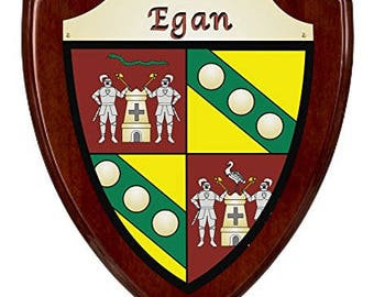 Egan Irish Coat of Arms Shield Plaque - Rosewood Finish