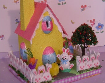 Yellow Putz Easter House with Bunny EAH801