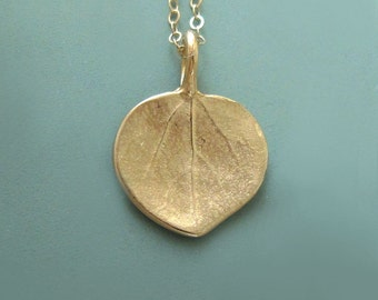 14k Gold Leaf Necklace Tiny Aspen Leaf, Free Shipping, Last Minute Gift, Gardening Gift