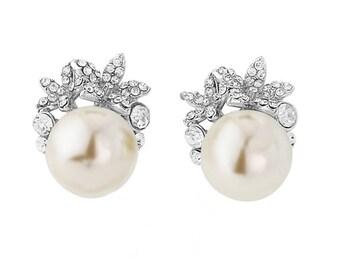 Bridal earrings, wedding earrings, ivory earrings, pearl earrings, large bridal earrings, floral earrings, bridesmaid earrings, rose gold