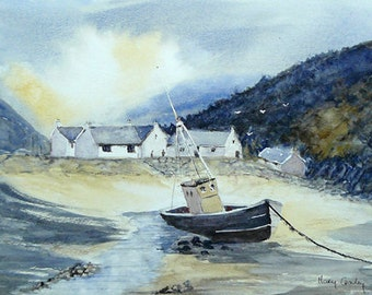 At Rest in Urris,  Leenan Bay, Co Donegal. Irish Art, Irish Watercolour. Limited Edition Print.