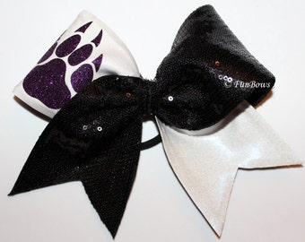 Custom Pawprint Allstar Cheer bow - Glitter and Sequin - YOUR  colors